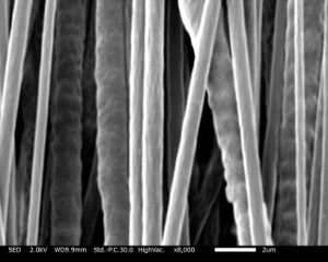 PCLの配向性ナノファイバーを紡糸しました